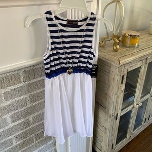 NWT: White and Blue Dress with Removable Necklace